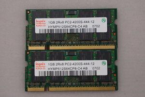 2GB Hynix Laptop Memory (1GBx2) 2Rx8 PC2-4200S-444-12 - $18.00
