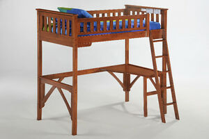 Loft Bed with Desk - Single - Cherry - By Bunk Beds Canada