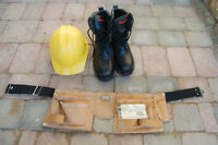 Safety boots, hard hat, tool belt
