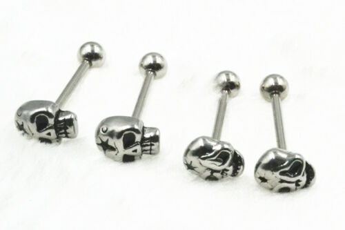 50pcs Surgical Steel Tongue /Nipple Sheild Rings Barbell Bar 14g Skull Star DIY