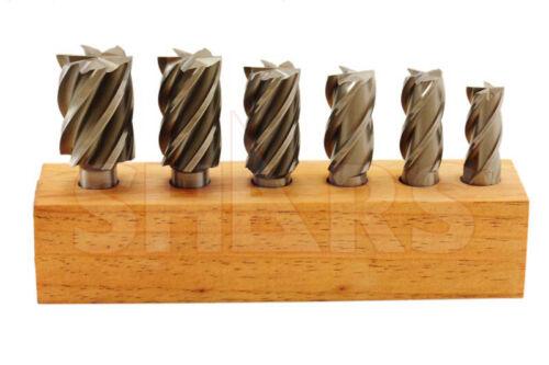 """Shars 6 PCS 3/4~1-1/2"""" HSS Bridgeport Multi Flute 3/4"""" Shank End Mill Set New A}"""