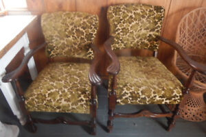 2 walnut chairs new upholstery $50 for 2