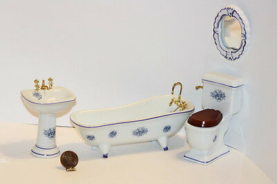 Dollhouse Miniature Fancy Bathroom Set in Blue & White Floral