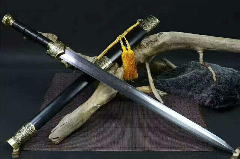 Chinese Wushu Sword KungFu Han Jian Folded Damascus Steel Blade Full Tang Sharp