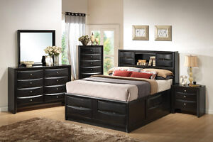 Black Platform Queen Size Storage Bed Set FREE DELIVERY!
