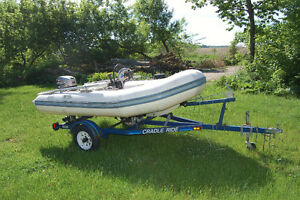Zodiac YL340 Inflatable with steering, 25HP Mercury and Trailer