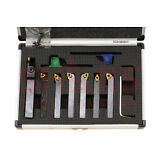 """SHARS 1/2"""" 7PC INDEXABLE CARBIDE INSERTS TURNING TOOL BIT SET NEW"""