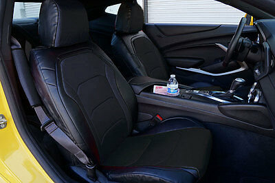 CHEVY CAMARO 2016- BLACK IGGEE S.LEATHER CUSTOM FIT FRONT SEAT COVER ()