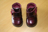 Burgundy patent leather boots