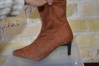 NEVER WORN (size 6.5) brown pointed toe cloth boots with zipper