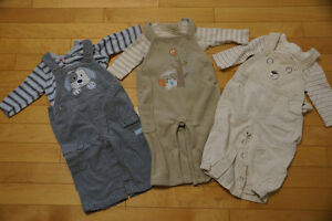 Three Shirt and Overall Sets, Size 9 months