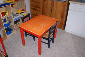 Child's table with chairs.