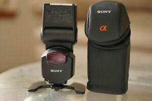 new Sony HVL F43AM flash in pouch