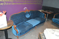 3-Piece Victorian Style Blue Velvet Couch Collection