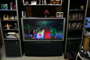 Hitachi Projection Color TV and Cabinet