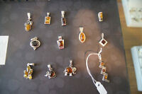 Sterling Silver With Amber Stone Pendants