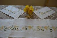 Lenzuola Matrimoniali In Puro Lino 100% Ricamo Mimose A Mano.scontate Del 50% -  - ebay.it