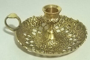 Vintage Ornate Brass Candle Holder With Finger Loop Cut Outs Flo