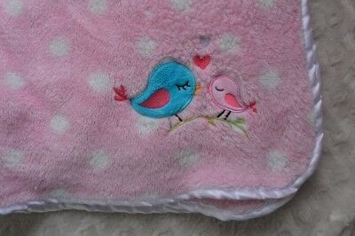 Cutie Pie Pink Blue Bird Baby Blanket White Polka Dots Hearts Security Lovey