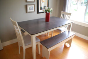 Refinished oblong dining table  with 2 chairs and 2 benches