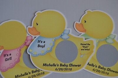 UNIQUE PERSONALIZED RUBBER DUCK THEME BABY SHOWER SCRATCH OFF LOTTO GAME CARDS](Rubber Duck Themed Baby Shower)