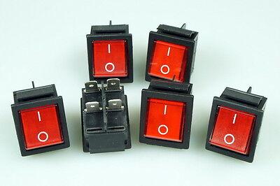 6 Stück Wippschalter Wippenschalter eckig 2polig Snap in Montage rot Ein / Aus