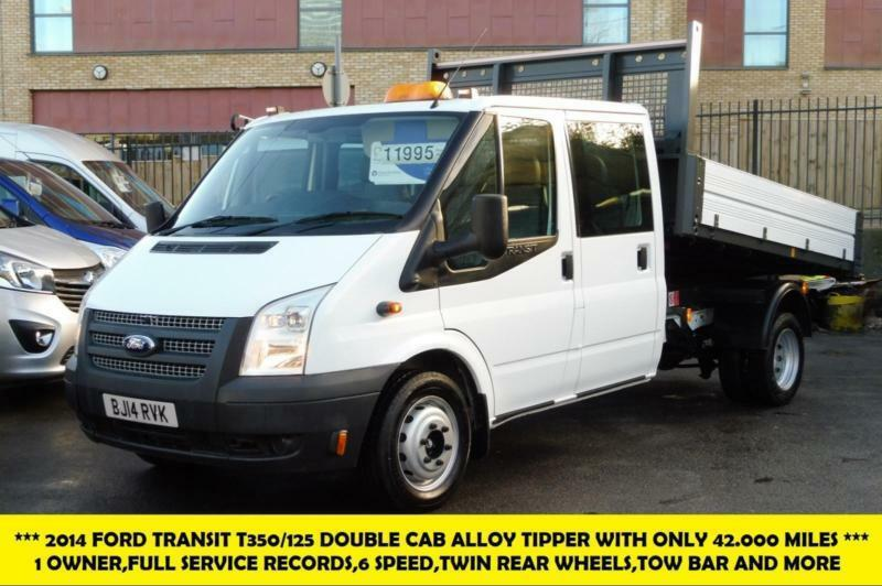 0395cee6b7bca3 2014 FORD TRANSIT 350 125 DOUBLE CREW CAB ALLOY TIPPER WITH ONLY 42.000  MILES