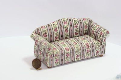 Dollhouse Miniature Upholstered White Damask Sofa w// Ball /& Claw Feet