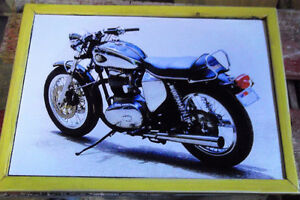 Beautiful pic of a vintage blue & white BSA - mounted