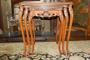 Antique French Nesting Tables with Inlay