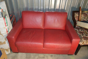 Red Italian leather couch