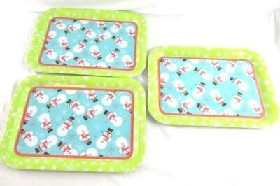 Lot of 3 Holiday Inspirations Christmas Tin Container Trays Snowmen Winter