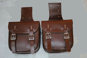 Motorcycle-Leather-Saddlebag-Rider-Pair-of-Bag-Motorbike-Panniers-Luggage-Brown