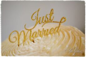 Wedding cake topper, Just Married, gold glitter