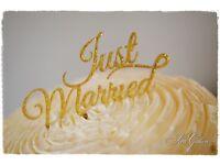 Wedding cake topper, Just Married, gold glitter