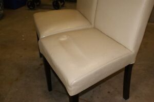 Faux leather parsons chairs