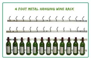 NEW VintageView - WS41-P - 12 Bottle Wall Mounted Metal Hanging Wine Rack - 4 Foot (Brushed Nickel) Condtion: New, Br...