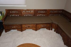 Wood Bench Sectional - Hand Carved