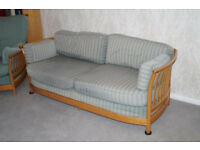 Ercol Renassance Low Back Sofa and two High Back Armchairs. Gold wood. Upholstery project.