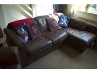 Brown Leather-look three seater corner settee & armchair for quick sale