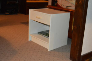 White IKEA BRIMNES bedside table with drawer