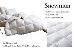 NEW Snowman White Goose Down Comforter Full/Queen Size 100% Egyptian Cotton Shell Down Proof,60 Thread Count-Solid Wh...