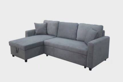 【Brand New】Quality Fabric Corner Sofa Bed with Storage in Grey