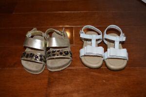 Baby girl sandals. $10 for both pairs. Size 4.