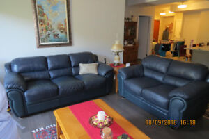Pristine top grain leather couch and love seat for sale