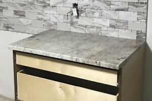 GRANITE COUNTER AND STAINLESS STEEL SINK - NEW