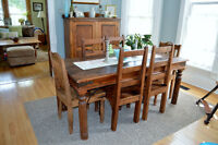 Solid wood harvest table and six chairs