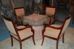 Glass Dining Table with Column Base, 4 Armchairs London Ontario image 1