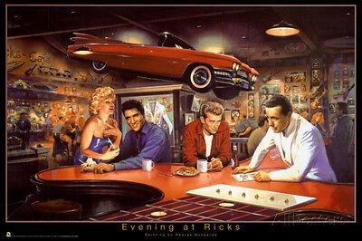 Evening At Ricks - George Bungarda Poster Print 34x22 Elvis Presley