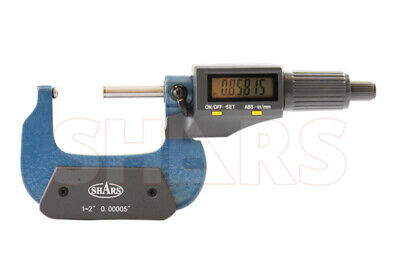 Shars 1-2 Digital Digit Micrometer .001mm .00005 Flat Spindle New